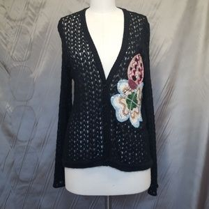 MISSONI KNIT CARDIGAN WITH FLORAL APPLIQUE